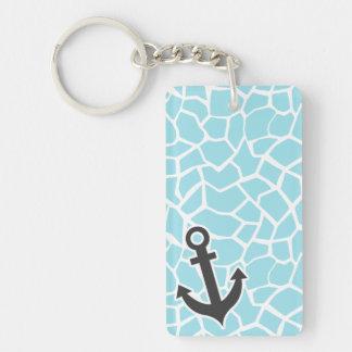 Anchor on Blizzard Blue Giraffe Animal Print Double-Sided Rectangular Acrylic Key Ring