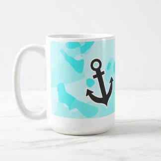 Anchor on Celeste Camo; Camouflage Classic White Coffee Mug