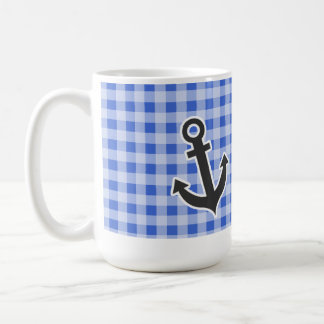 Anchor on Han Blue Gingham Coffee Mugs
