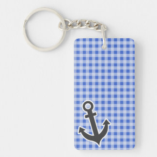 Anchor on Han Blue Gingham Double-Sided Rectangular Acrylic Key Ring