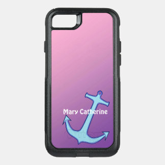 Anchor on Pink and Purple Personalized OtterBox Commuter iPhone 8/7 Case