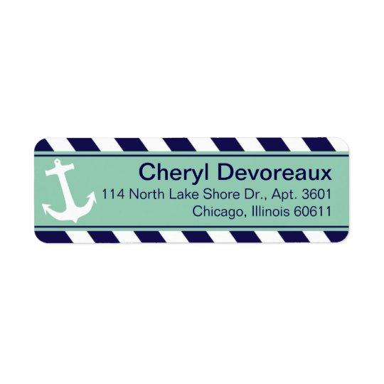 Anchor on Stripes | navy aqua Return Address Label