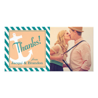 Anchor on Stripes | teal peach Picture Card