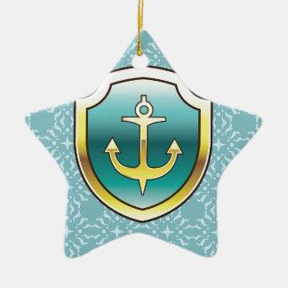 Anchor on the Shield Vector Design Ceramic Star Decoration