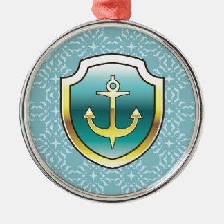 Anchor on the Shield Vector Design Silver-Colored Round Decoration