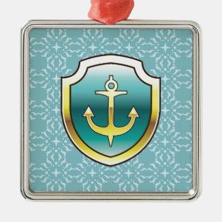Anchor on the Shield Vector Design Silver-Colored Square Decoration