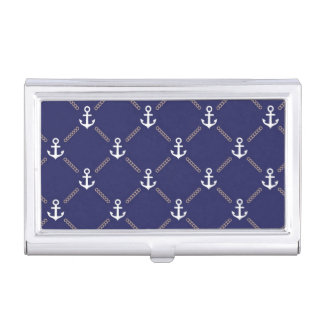Anchor pattern business card holder