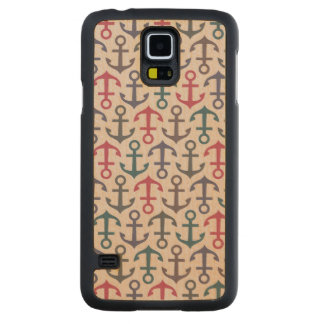 Anchor pattern carved maple galaxy s5 case