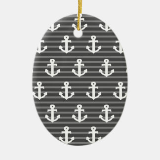 Anchor Pattern Ceramic Oval Decoration