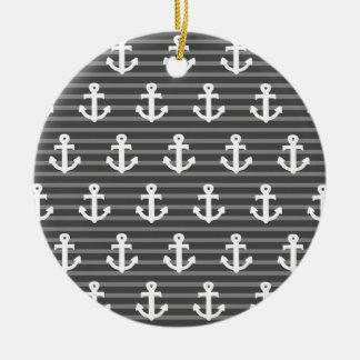 Anchor Pattern Christmas Ornament