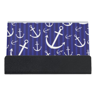 Anchor pattern desk business card holder