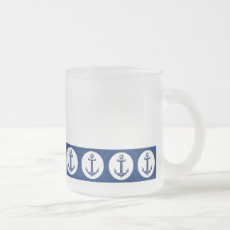 Anchor pattern frosted glass mug