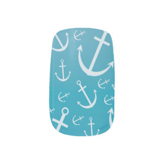 Anchor pattern minx nail art