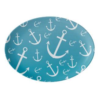 Anchor pattern porcelain serving platter