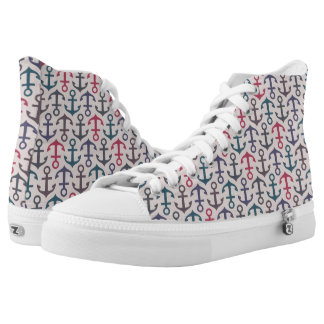 Anchor pattern printed shoes