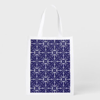 Anchor pattern reusable grocery bag