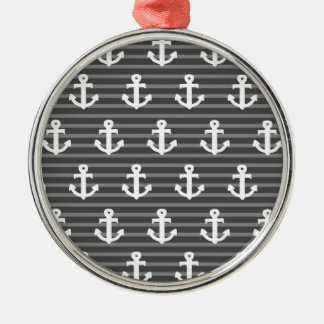 Anchor Pattern Silver-Colored Round Decoration