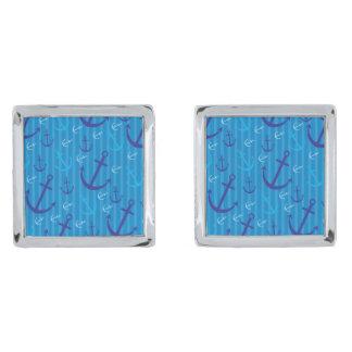 Anchor pattern silver finish cuff links