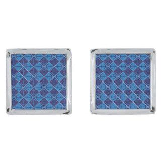 Anchor pattern silver finish cufflinks
