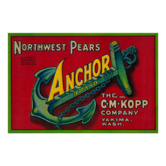Anchor Pear Crate LabelYakima, WA Poster