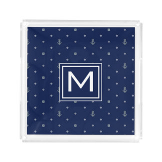 Anchor Polka Dots Pattern | Add Your Initial Acrylic Tray