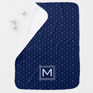 Anchor Polka Dots Pattern | Add Your Initial Baby Blanket