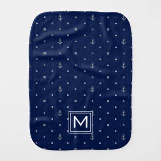 Anchor Polka Dots Pattern | Add Your Initial Burp Cloth