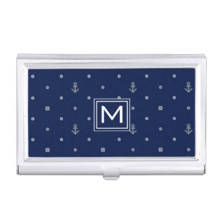 Anchor Polka Dots Pattern | Add Your Initial Business Card Holder