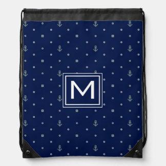 Anchor Polka Dots Pattern | Add Your Initial Drawstring Bag