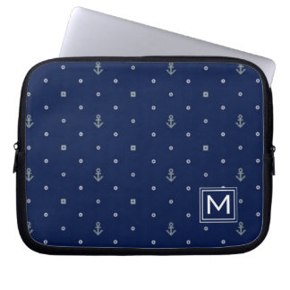 Anchor Polka Dots Pattern | Add Your Initial Laptop Sleeve