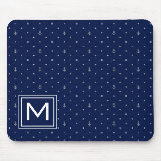 Anchor Polka Dots Pattern | Add Your Initial Mouse Mat