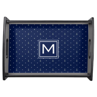 Anchor Polka Dots Pattern | Add Your Initial Serving Tray