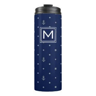 Anchor Polka Dots Pattern | Add Your Initial Thermal Tumbler