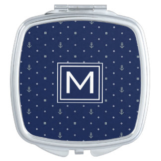 Anchor Polka Dots Pattern | Add Your Initial Travel Mirror