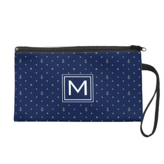 Anchor Polka Dots Pattern | Add Your Initial Wristlet Purses