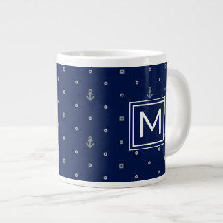 Anchor Polka Dots Pattern| Monogram Large Coffee Mug