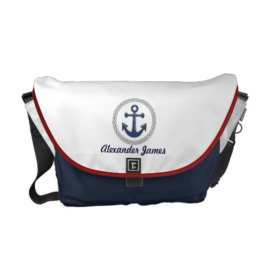 Anchor Red White and Blue Personalised Courier Bag