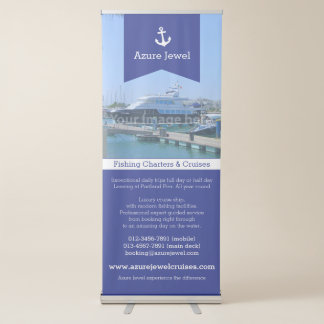 Anchor ribbon blue white sailing nautical business retractable banner