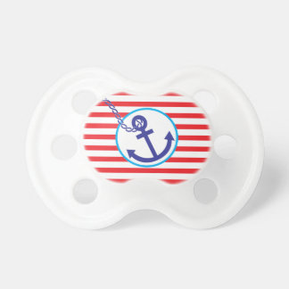 Anchor Rope Nautical Sailor Stripes Red Pacifier