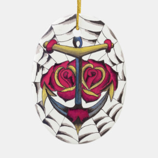 Anchor Rose Web Christmas Ornament
