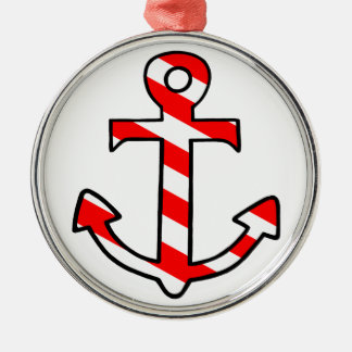 Anchor Silver-Colored Round Decoration