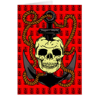 Anchor Skull Tattoo Greeting Cards
