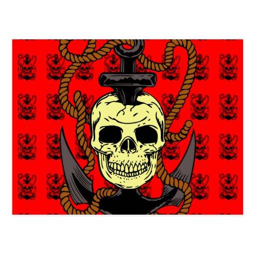 Anchor Skull Tattoo Postcards