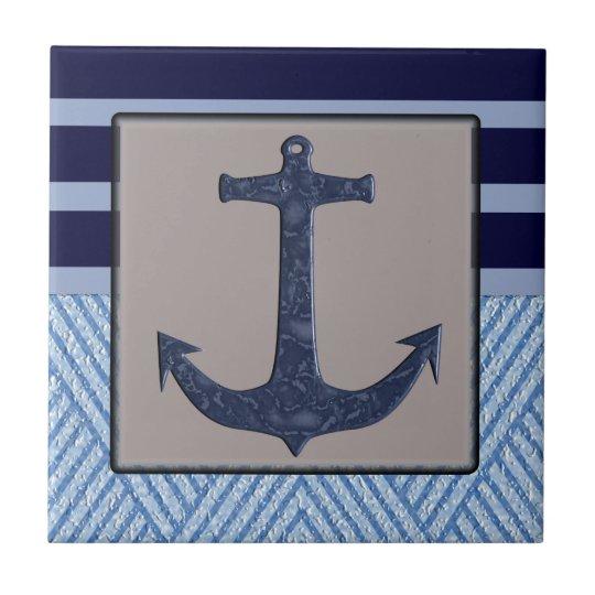Anchor & Stripes Nautical Design Tile