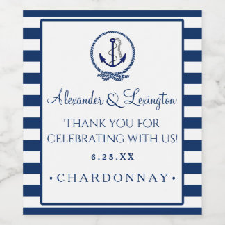 Anchor Stripes Nautical Wedding Customize Color Wine Label