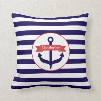 Anchor + Stripes Pillow