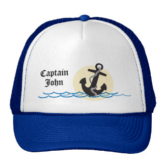 Anchor Sun and Water Personalized Captain Hats