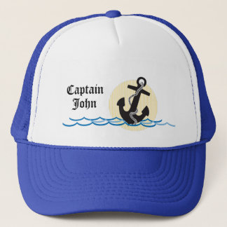 Anchor, Sun and Water Personalized Captain Trucker Hat