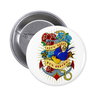Anchor, Swallow and Roses 6 Cm Round Badge