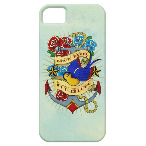Anchor, Swallow and Roses iPhone 5 Case